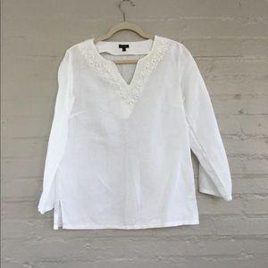 Talbots white linen tunic